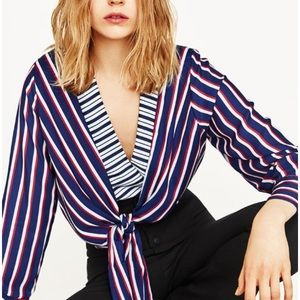 Zara Red White Blue Striped Bodysuit